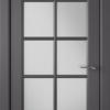Дверь Гланта 57ДО06 графит (белый сатинат)